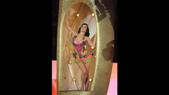 "The singer emerges from a golden banana dressed in this fruity costume while performing ""I Kissed a Girl"" at the Grammys in February 2009."