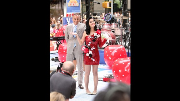 "This ""dicey"" dress might make more sense in Sin City than the Big Apple, but the ""Waking Up In Vegas"" singer wears it to perform on NBC's ""Today"" in July 2009. Anchor Matt Lauer looks amused."