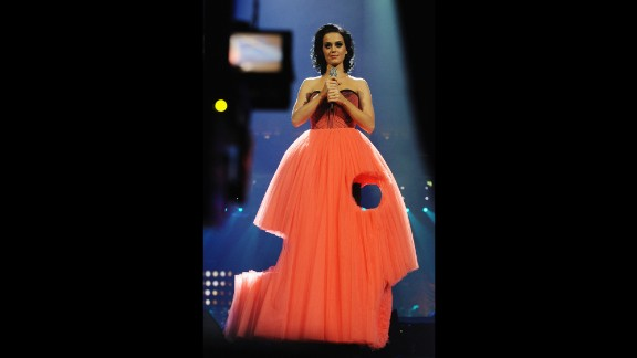 Resembling a piece of Swiss cheese, Perry dons this gown when performing at the MTV Europe Music Awards in November 2009 in Berlin.