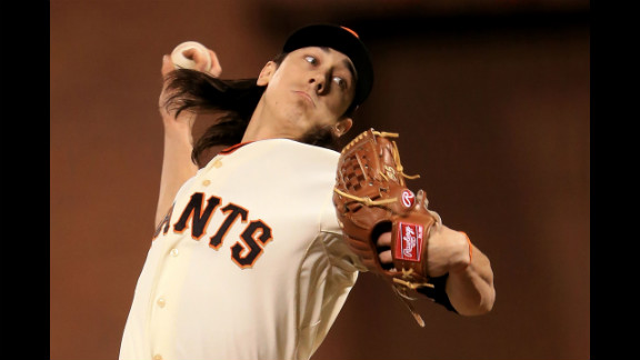 Tim Lincecum of the San Francisco Giants pitches against the Detroit Tigers in the sixth inning.