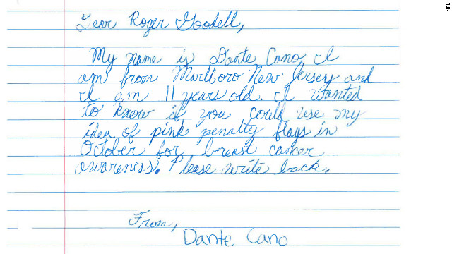 This is the letter that 11-year-old Dante Cano wrote to NFL commissioner Roger Goodell asking that the league use pink penalty flags in support of breast cancer awareness.