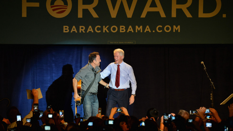 Bruce Springsteen and Bill Clinton teamed up for an Obama rally in Ohio in mid-October.