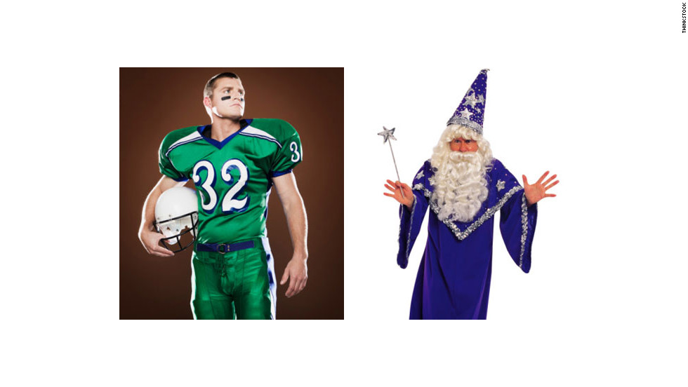 Add a nerdy touch to a fantasy football costume by combining your favorite wizard with some quarterback garb.