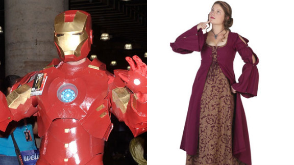 """Get more mileage out of your Ren Fest dress by adding an Iron Man mask. Extra points if you hum """"Run to the Hills"""" while in costume."""
