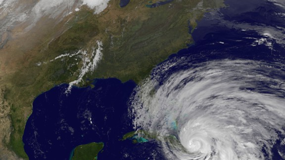 A satellite view shows Hurricane Sandy