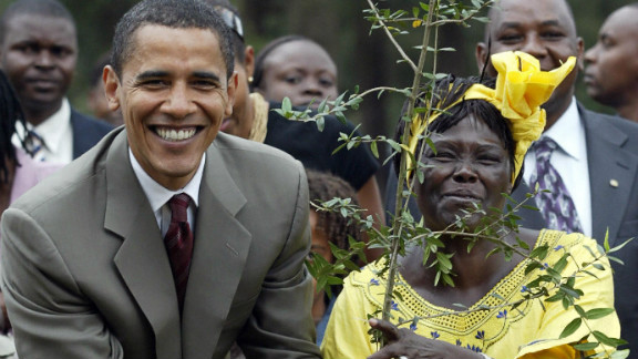 Obama also met with 2005 Nobel Peace Prize winner Wangari Mathai, the first African woman to win the prize, during a ceremony in Nairobi in 2006.