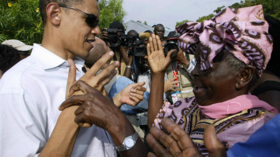 Barack Obama's father is from Kenya -- and in 2006, then-Senator Obama visited his relatives there. In this photo, Obama greets  his grandmother Sarah Obama at their rural home west of Nairobi.