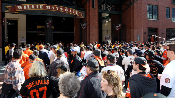 Fans gather outside the stadium before the start of Game 1.
