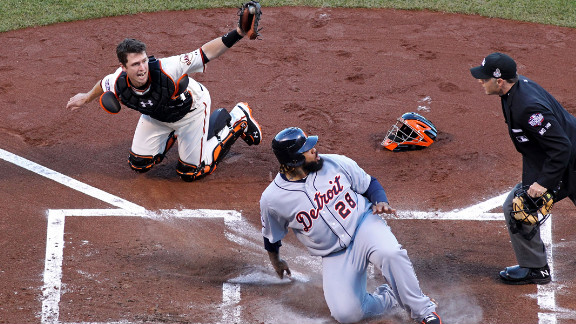 Prince Fielder of the Detroit Tigers reacts after he was called out by home plate umpire Dan Iassogna on a tag by catcher Buster Posey of the San Francisco Giants in the second inning.