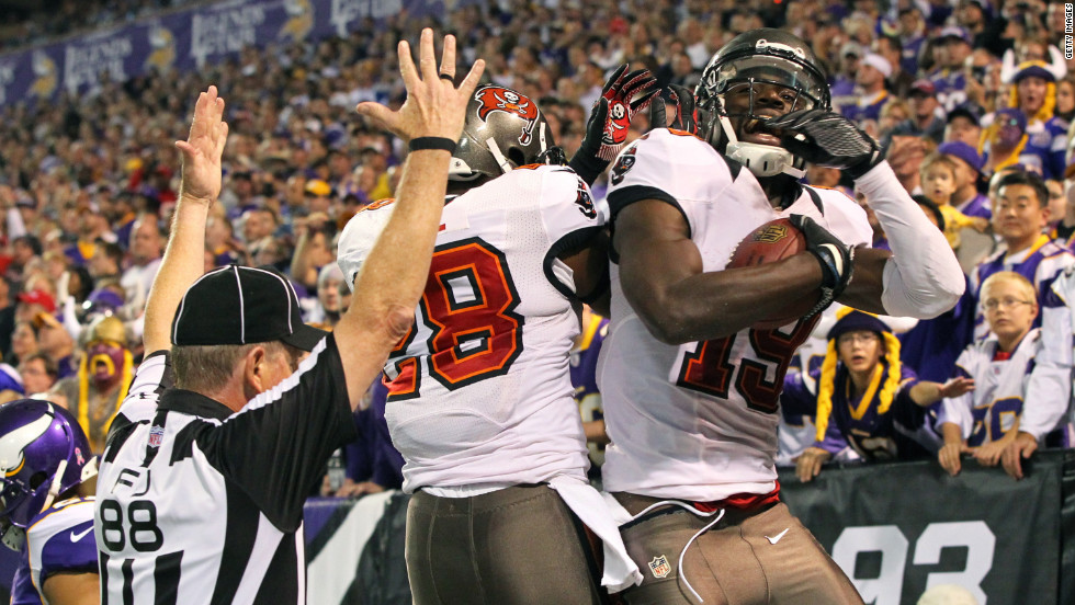 Mike Williams of the Tampa Bay Buccaneers celebrates a touchdown with teammate D.J. Ware.