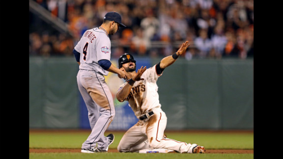 Angel Pagan of the San Francisco Giants calls for time out after stealing second base in the eighth inning.