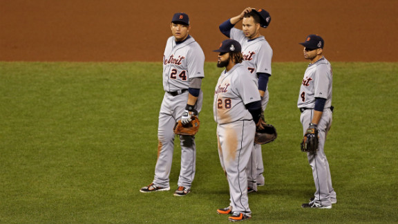 From left to right, Miguel Cabrera, Prince Fielder, Jhonny Peralta and Omar Infante of the Detroit Tigers look on during a pitching change in the seventh inning against the San Francisco Giants during Game 2 of the Major League Baseball World Series at AT&T Park in San Francisco on Thursday, October 25. See the best photos of Game 1 here.