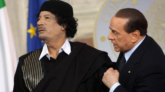 Libya's Moammar Gadhafi attends a meeting with Berlusconi in Rome in June 2009. The Libyan leader was killed in 2011 after being captured by rebel forces in his hometown.