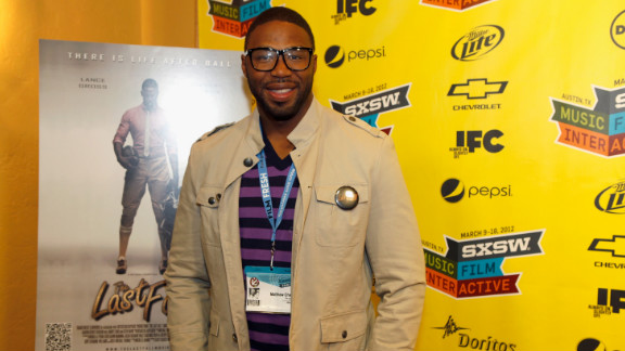 """Filmmaker Matthew Cherry stops on the red carpet at a SXSW 2012 screening of his first feature film, """"The Last Fall."""""""