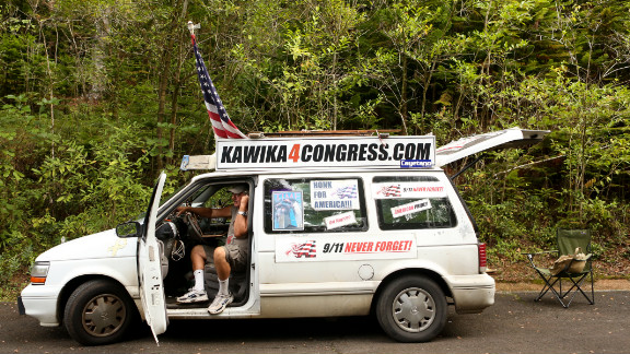 Kawika Crowley is the Republican candidate for one of Hawaii's seats in the U.S. House. He lives out of this van.