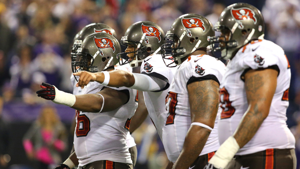 The Tampa Bay Buccaneers call out plays against the Minnesota Vikings.