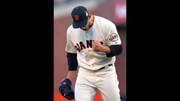 Madison Bumgarner of the San Francisco Giants celebrates a strikeout during the second inning.