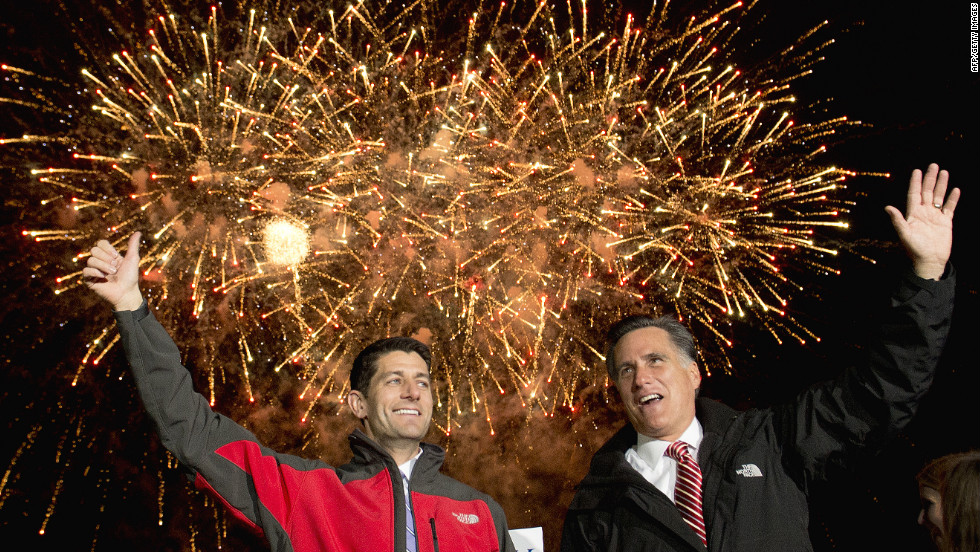 Romney and his running mate, Rep. Paul Ryan, hold a campaign rally at Canton Hoover High School in North Canton, Ohio, on Friday, October 26.