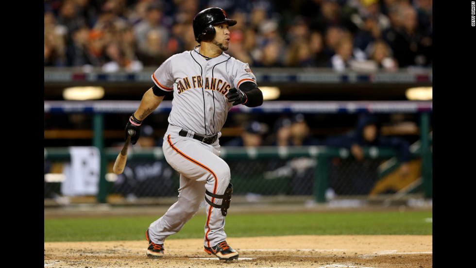 The Giants' Blanco hits a triple to deep center field that drove in a run in the second inning.