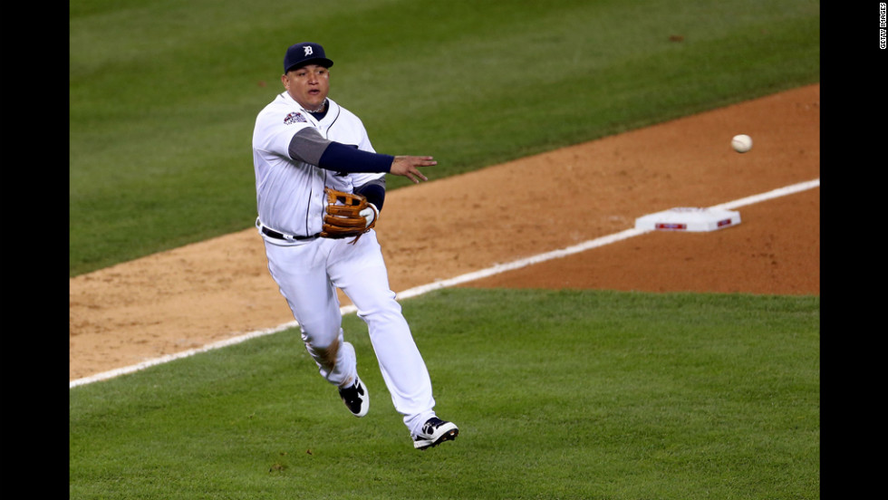 Cabrera, the Tigers' third baseman, makes a throw to first in the fifth inning of Game 3.