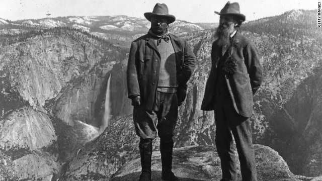 Roosevelt with the conservationist John Muir in Yosemite, California.