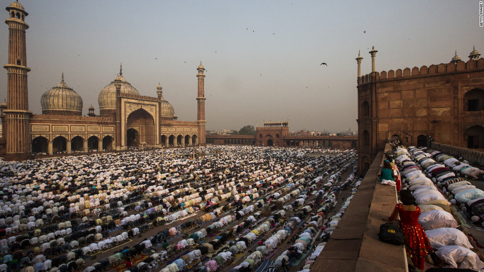 Indian Muslims gather for  Saturday's prayers at the Jama Masjid mosque in New Delhi.