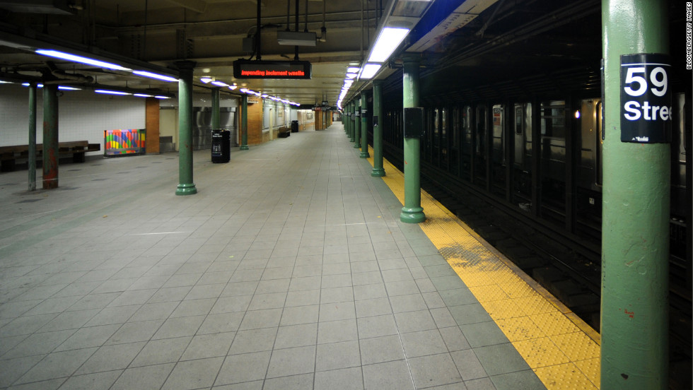 The subway platform at Columbus Circle stands empty after the closure on October 28 due to the storm.
