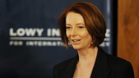 Australian Prime Minister Julia Gillard arrives to speak at the Lowy Institute on October 28.