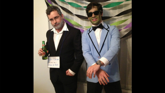 Sarah Elizabeth Ruff photographed her two friends dressed as Internet memes. On the left is the Most Interesting Man in the World meme, which was inspired by a Dos Equis beer commerical. On the right is a zombie version of PSY, the Korean singer from the viral music video Gangam Style.