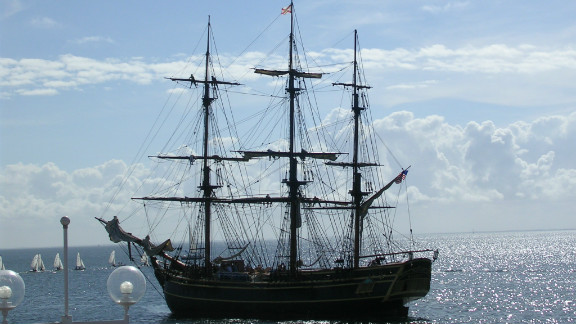 A replica of the HMS Bounty sank in the Atlantic Ocean in waters roiled by Hurricane Sandy on Monday, October 30, 2012. Of the 16 people onboard, three were washed overboard. One is confirmed dead, one was recovered safely and Robin Walbridge, the replica