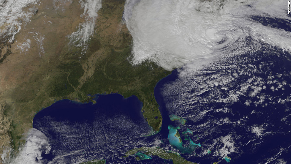 This satellite image shows Sandy at  2:59 p.m. ET on Monday, October 29.