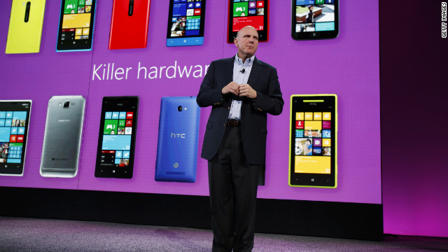 Microsoft CEO Steve Ballmer unveils Windows Phone 8 on Monday in San Francisco.