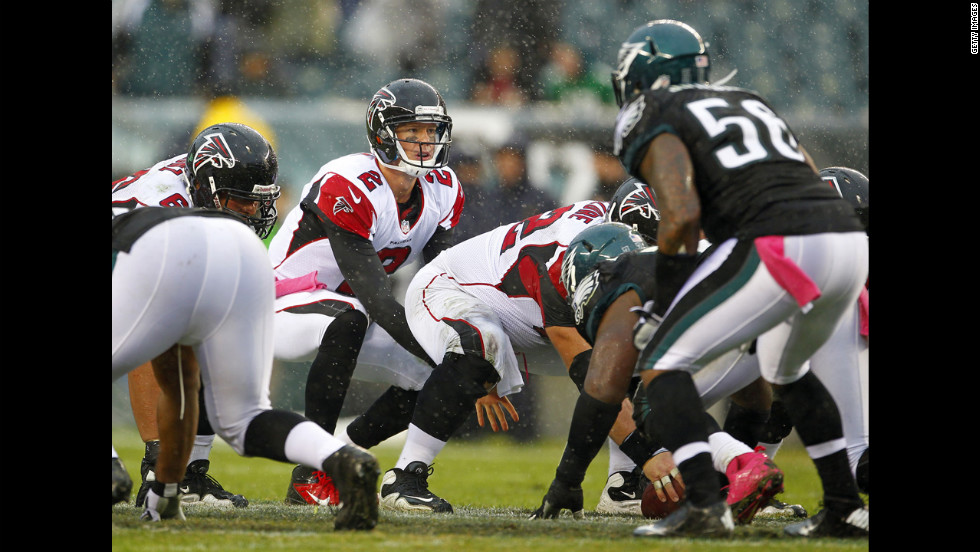 Atlanta Falcons quarterback Matt Ryan gets ready to take the snap during the fourth quarter in a game against the Philadelphia Eagles on Sunday in Philadelphia.  The Falcons defeated the Eagles 30-17.