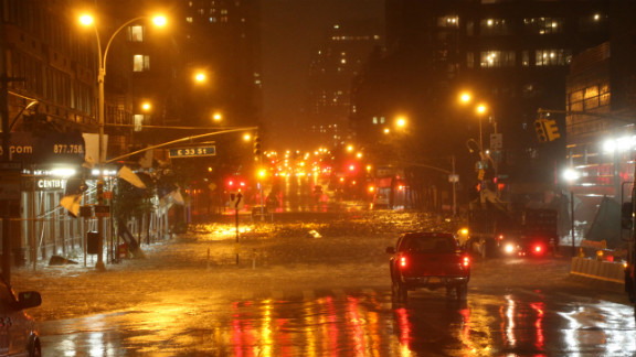 Heavy rains fall in Manhattan on Monday.