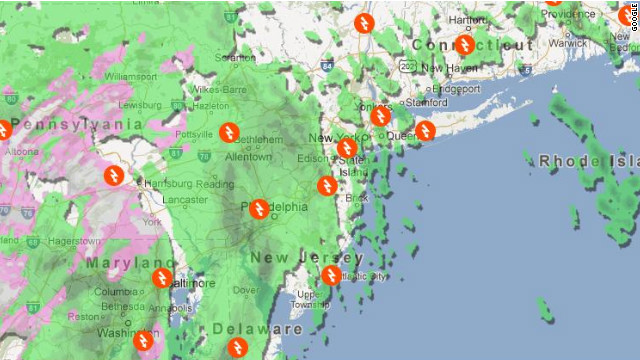 The Superstorm Sandy 2012 map from Google shows precipitation, evacuation routes, shelters and other helpful information.