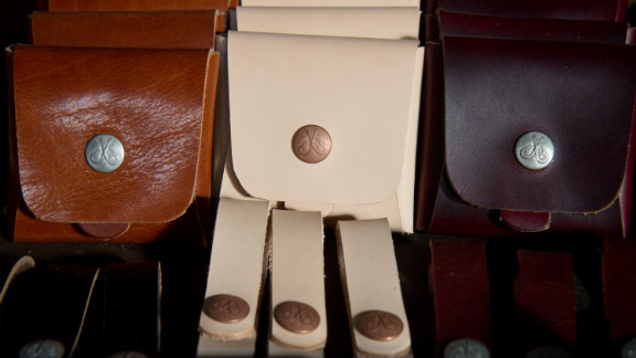 Eric Heins of Corter Leather makes all of his leather goods by hand.