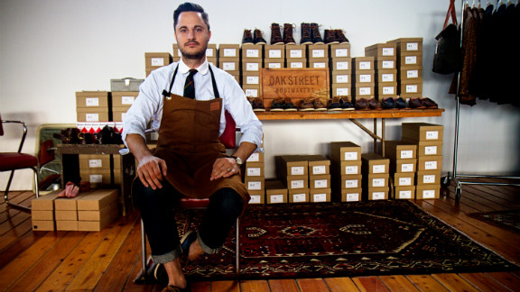 George Vlagos of Oak Street Bootmakers learned everything he knows about shoes from his father, a cobbler from Greece who has a shoe repair store in Chicago. All of Oak Street's boots are made in Maine.