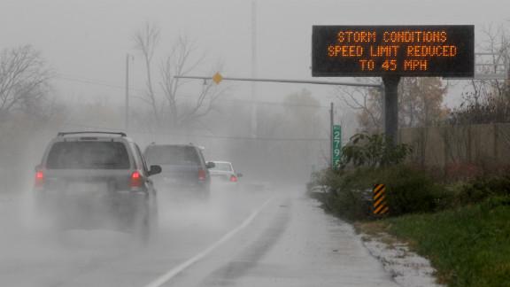 A traffic sign warns motorists west of Philadelphia on Monday.