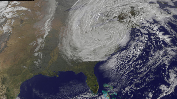 The destruction caused by Superstorm Sandy mounted Tuesday morning as electrical fires and record power outages added to the misery of devastating flooding in the Northeast. This image shows the storm at 9:40 a.m. ET on Tuesday, October 30.