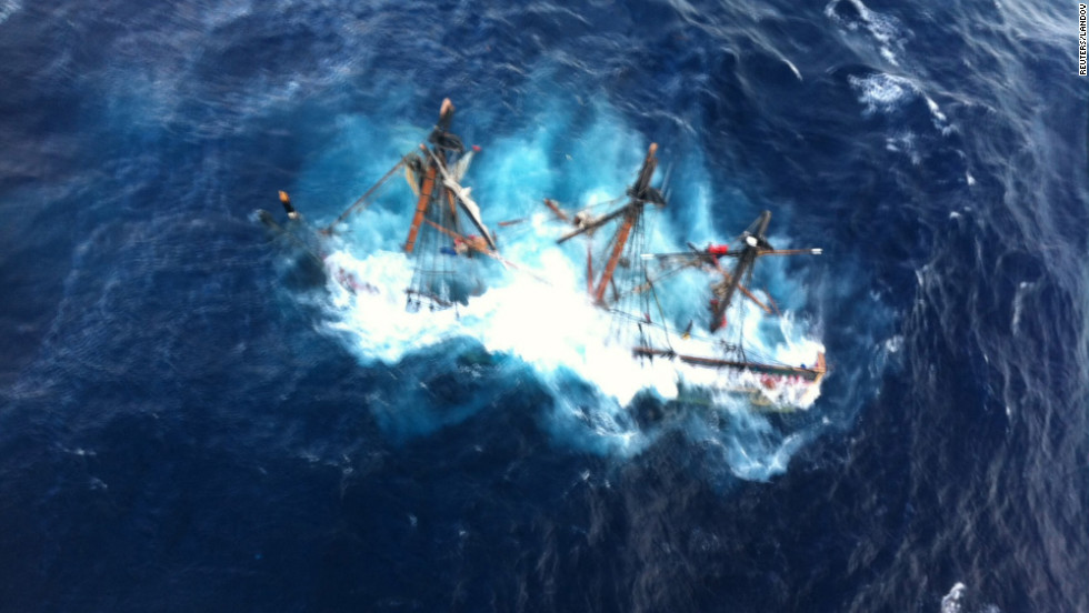 The HMS Bounty, a 180-foot sailboat, is submerged in the Atlantic Ocean about 90 miles southeast of Hatteras, North Carolina, on Monday, October 29.