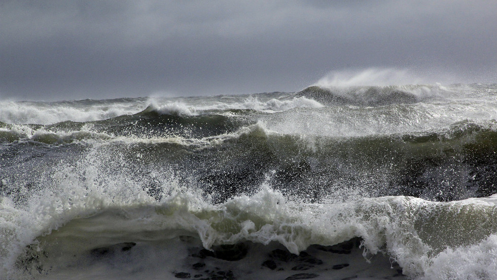 Multiple waves hit the Cooper's Beach in Southampton, N.Y.