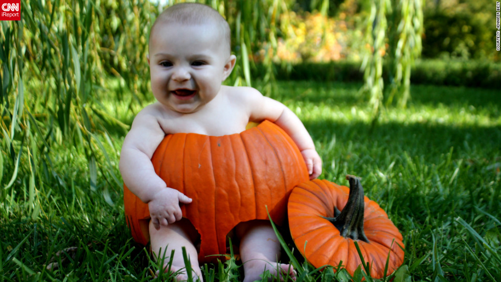 "For Jennifer Best's first ever iReport assignment, she decided to put her 5-month-old nephew Graysen Best in a pumpkin. ""I kept seeing ideas for the pumpkin on Pinterest, and my best friend tried it last year with her niece. Thought it was absolutely adorable,"" said the 26-year-old nurse from Liberty, Missouri, who submitted <a href=""http://ireport.cnn.com/docs/DOC-864216"" target=""_blank"">several photos of Graysen in her iReport.</a><br /><br />The pair's Halloween did not end with this backyard photo shoot. ""On Halloween, he's dressing up as a monkey and I'm going to be a witch so we can have make-shift Wizard of Oz and take him trick-or-treating for the first time,"" she said."