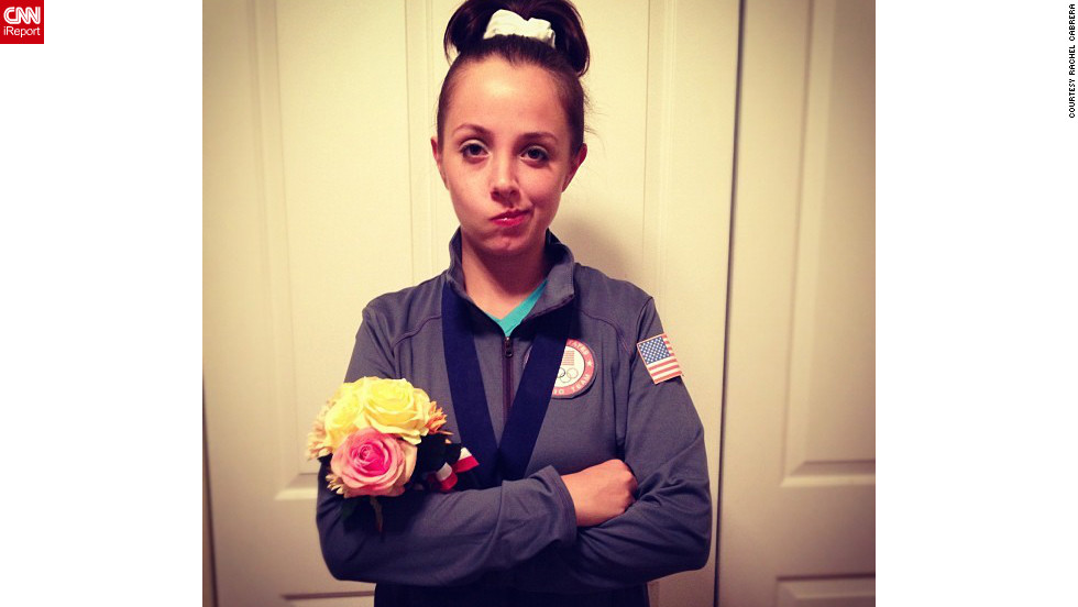 "Rachel Cabrera of Chicago, Illinois, decided to dress as ""<a href=""http://news.blogs.cnn.com/2012/08/16/fierce-five-gymnasts-show-off-skills/"">McKayla Maroney is not impressed</a>."" ""Since the Olympics were this year and the Women's U.S. Gymnastics team did so well, I considered being a member of the Fierce Five,"" she said. ""I really loved the idea of being McKayla over any other gymnast because I could easily play the part. The 'McKayla is not impressed' meme was my <a href=""http://ireport.cnn.com/docs/DOC-866907"">favorite way</a> to approach being McKayla."""