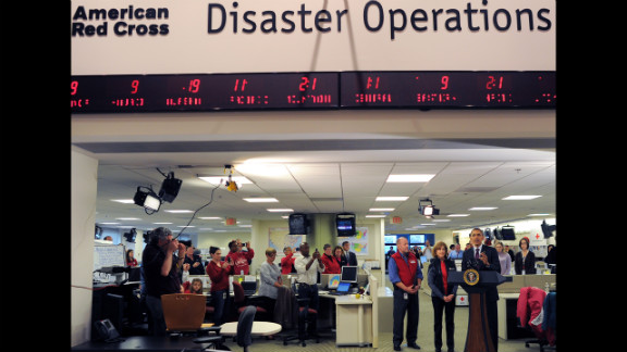 President Barack Obama speaks about the federal government's response to Superstorm Sandy at the headquarters of the Red Cross in Washington on Tuesday, October 30.