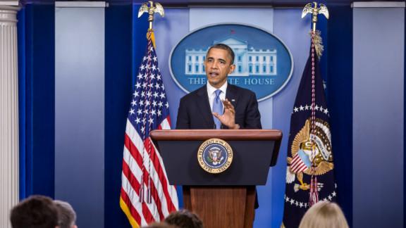 President Obama makes a statement on Hurricane Sandy on Monday in Washington.