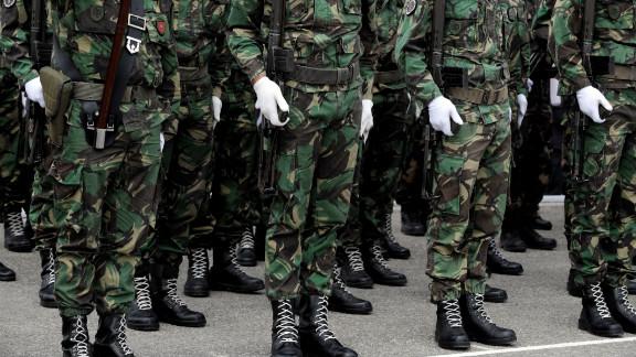 NATO-led peacekeepers in Pristina, Kosovo.