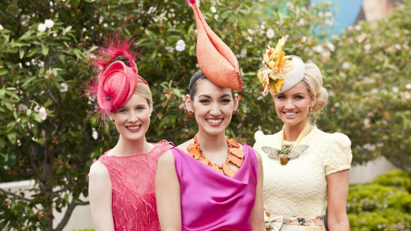 "The 2011 ""Fashions on the Field"" winner Angela Menz (center) with finalists Alex Foxcroft and Louise Struber."
