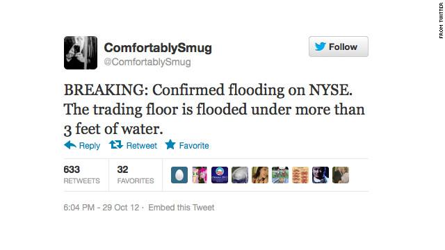 One of the fake tweets sent during Superstorm Sandy in 2012.