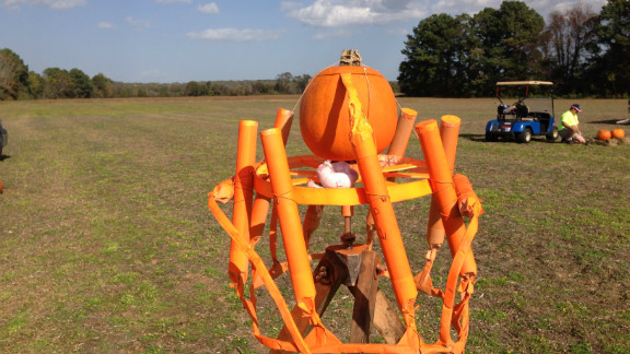 It may not look a little odd, but to get the real impact of this flying-exploding-pumpkin you need to check out Matt Roach's amazing video. The display was the brain-child of Cracker Jacks, one of the oldest fireworks clubs in the U.S., and according to Roach this pumpkin shot up to 150-175 feet before meeting a very timely and seasonal death.