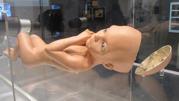 """A creepy baby doll? No, it's just the working model of the """"Star Child"""" seen at the end of """"2001."""" What does the great big space fetus represent? Well... that's open to interpretation."""